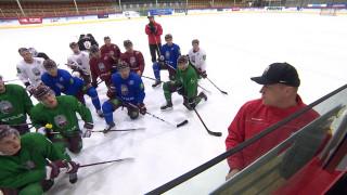 Latvijas hokeja valstsvienība aizvada treniņus pirms pārbaudes spēlēm