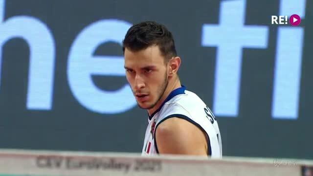 Eiropas čempionāts volejbolā. Fināla 1. seta spilgtākās epizodes
