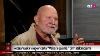 """Pētera Vaska vijoļkoncerta """"Vakara gaismā"""" pirmatskaņojums"""