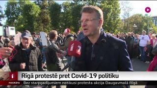 Rīgā protestē pret Covid-19 politiku