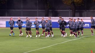 Latvijas izlase aizvada treniņu pirms spēles ar Nīderlandes valstsvienību