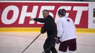 Latvijas hokeja izlases treniņš pirms Zviedrijas spēles