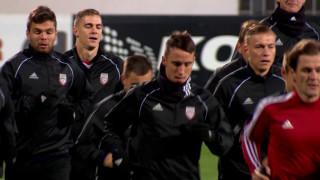 Latvijas futbola valstsvienība gatava spēlei ar Melkalnes izlasi